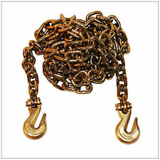 3/8'' x 20' Binder Transport Chain Flat Bed Tow Grade 70 w/ Clevis Grab Hooks
