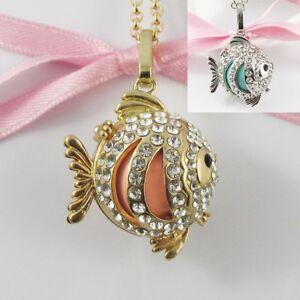 Rhinestone Goldfish Harmony Ball Cage Pendant Necklace 80cm Gold or Silver