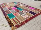 Beautiful Antique 1950-1960's Wool Pile Natural Dye Patchwork Rug 10x15ft