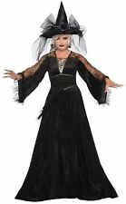 Spell Caster Witch Halloween Costume Womens Black Wizard Fancy Dress Std