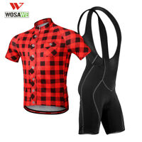 WOSAWE Cycling set Short sleeve Jersey Bib Shorts Padded Bike Tops Bicycle Pants