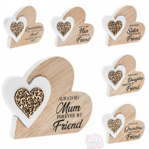 Wooden Double Heart Family Love Plaque Ornament Pretty Pattern Forever Friend