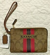 AUTHENTIC Coach Varsity Khaki Pink Ruby Corner Zip Wallet Wrislet
