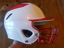Adidas Softball Baseball Helmet With Mask Cage 6 5/8-7 5/8 Red and White