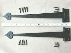 💖Vintage Wrought Iron Cabinet Door Gate Strap Hinge Heart Tip Set of 2 w/Screws