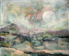 Moon Over Rocky Landscape 16x20 in. Oil on on stretched canvas Hall Groat Sr.