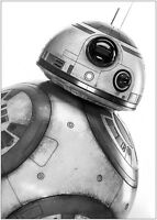 Star Wars BB8 Movie Poster Art Print Black & White Card or Canvas