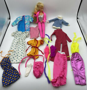 Barbie Doll & Lot of 13 Vintage Barbie Clothing Outfits Dresses Skirt Pants