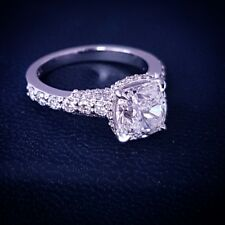 14K 1.50 Ct Cushion Cut Diamond Micro Pave Engagement Ring H,VS2 GIA Certified
