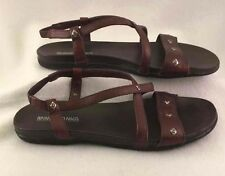 Minnetonka Strappy Flat Sandals Dark Brown Studded Summer Shoe Casual Dress 8N