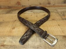 Tommy Bahama Leather Belt Braided Brass Buckle Distressed TB6078 Brown 34 Spain