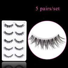 5 Pairs Individual Black False Eyelashes Natural Transparent Stalk Cross Thick