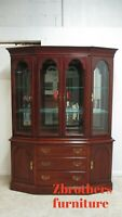 Ethan Allen Cherry Georgian Court China Cabinet Hutch Breakfront Display  205