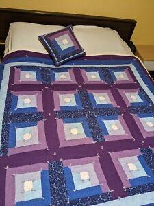 "Vtg Handmade Hand Tied Log Cabin Quilt 68""x66"" Twin W Pillow 14""x15"" Purple Blue"
