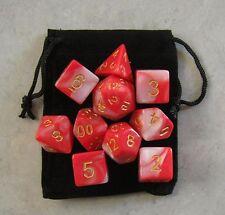 Vampire Blood Red RPG D&D Dice Set: 7 + 3d6 = 10 polyhedral die plus bag!