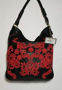 ISABELLA FIORE VICTORIA RED/BLACK EMBROIDERED LEATHER SHOPPER TOTE MINT NWT$425