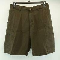 Men Tommy Bahama Relax Brown Hawaiian Beach Flat Front Cargo Golf Shorts Size 32