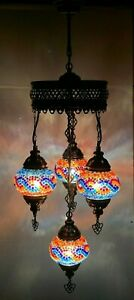 Turkish Moroccan Glass Mosaic Hanging Lamp Ceiling Light Chandeliers