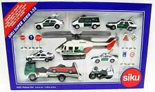 Police Gift Set 1/55 Siku 6321 Helicopter Motorcycle Porsche Mercedes Flatbed