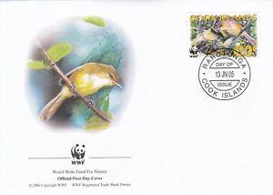 WWF057) WWF Panda, FDC, Birds, Cook Islands, 13 June, 2005, set of 4