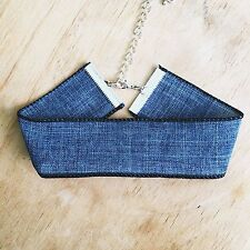 Thick BLUE DENIM Jean Black Velvet Choker Wide NEW CELEBRITY TREND