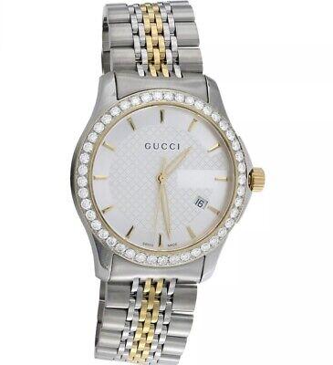 Gucci Ya126409 Diamond Watch G-Timeless 38mm Two Tone Yellow Gold Steel 2 CT
