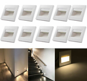 10 x 1.5W Warm White LED Wall Plinth Recessed Stair Hall Lamp Lights AC85-240V