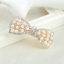 Fashion Women Crystal Bow Hair Clip Hairpin Barrette Pearl Hair Accessories TB