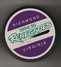 VIRGINIA Richmond Renegades 1994 ECHL Hockey Game Puck TuFFerer Stacked Sticks