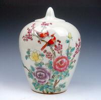 Vintage Glazed Porcelain Famille-Rose Birds & Flowers Hand Painted Ginger Jar #A
