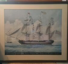 "VINTAGE FRAMED PRINT PACKET SHIP LIVERPOOL  22 X 25"" LTD. EDITION"