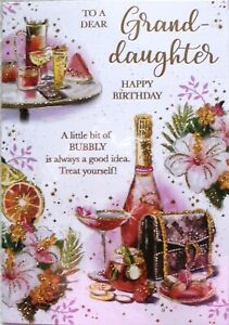 """Classy Champagne & Flowers """"GRANDDAUGHTER"""" Birthday Card"""