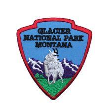 """Hiking Travel Patch """"Glacier National Park"""" Mountain Souvenir Iron-On Applique"""