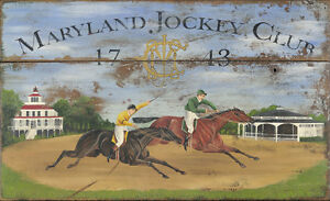 "Antique Look Repro of Original Art - Sign ""Maryland Jockey Club"" Horse Racing"