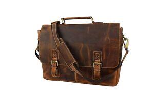 Buffalo Leather Briefcase 15.6 In Laptop Satchel Office Shoulder Messenger Bag
