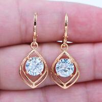 18K Yellow Gold Filled Lady Round Crystal Zircon Topaz Hear Earrings Jewelry