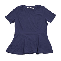New ISAAC MIZRAHI LIVE! Size Large Blue Short Sleeve Scoop Neck Peplum T-shirt
