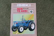 Iseki Tractor Sales leaflet brochure TD 4451 2 wheel & 4 wheel drive models