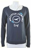 HOLLISTER Womens Top Long Sleeve Size 10 Small Navy Blue Cotton  IA22