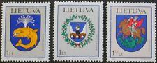 Town arms stamps, 2002, Birstonas, Anyksciai, Lithuania, SG ref: 781-783, MNH