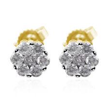10K Amarelo Ouro Ródio sobre Diamond Cluster Brincos Joias Ct 1 H clareza de cor I3