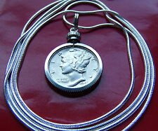 """Classic US Mercury Dime Pendant 30"""" 925 Silver Snake Chain, Better Looking Coins"""