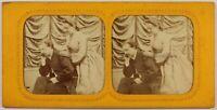Francia Coppia Riflessione Scena Da Genere Foto c1865 Diorama Stereo Vintage