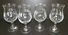 NEW PRINCESS HOUSE 4 BEVERAGE GLASSES 12 OZ ETCHED FLOWER DESIGN NEW IN BOX 6234