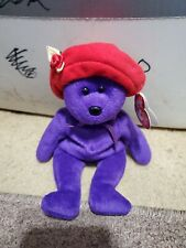 TY Beanie Baby - RUBY the Bear (Purple with Red Hat) (9.5 inch)