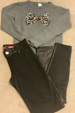Lot Of 2 Girls 7-8 Cat&Jack Sequin Bow Sweater Bongo Pleather Stretch Pant #KU29