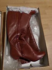 Red leather Boots. Size 10. Med. WIDE CALF for Women Bella-Vita.