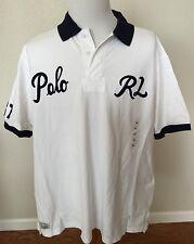 POLO RALPH LAUREN Varsity 67 Polo RL Script Patch White RUGBY Shirt Big Tall 2XB