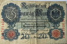 20 Zwanzig Mark 1914 Ro47  Deutsches Reich -Inflation.... (25)