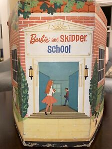 1965 BARBIE and SKIPPER SCHOOL Fold-Up Cardboard Playset by Mattell - COMPLETE!